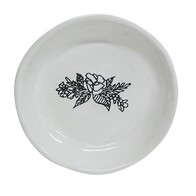 French Country Engraved Round Flower Plate White 11cm