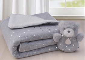 Living Textiles Grey Stars Sherpa Blanket & Rattle Set