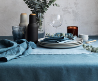 Baksana Linen Table Runner - Blue 150x50cm