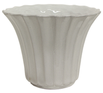French Country Stella Ribbed Pot Short 20cmDiax16cmH - White