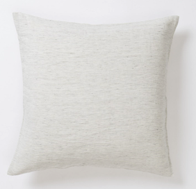 Citta Pinstripe Linen Euro Pillowcase - Pepper/Chalk 65x65cm