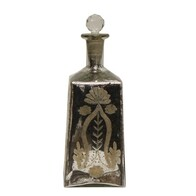 French Country Lotus Square Glass Bottle - Silver