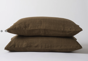 Citta Grid Linen Pillowcase - Seaweed/Olive Std Pr