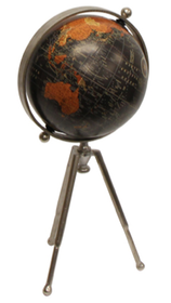 French Country Black Globe on Stem Tripod Stand