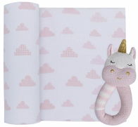 Living Textiles Unicorn/Clouds Muslin Swaddle & Rattle Pink