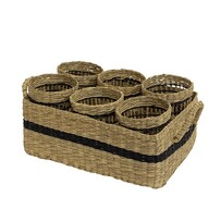 French Country Natural Black Open Weave Glass Holders