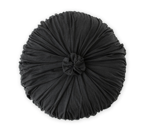 Lazybones Rosette Round Organic Cushion Cover - Charcoal