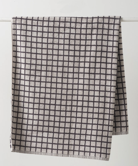 Citta Grid Terry Towel Collection - Charcoal Tint/Chalk