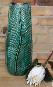Banyan Banana Palm Leaf Vase 45cmH - Green