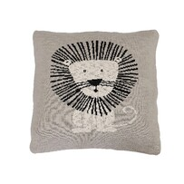 Le Forge Cotton Lion Cushion Natural/Black