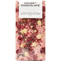 House of Chocolate Rasp Hzlnt Cacoa Chocolate Bar - White