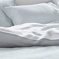 Baksana Linen Pillowcase - Aqua Oxford