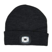 USB 250 Lumen High Power Beanie Light Black