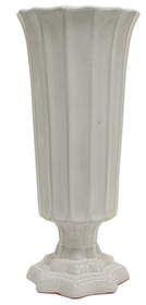 French Country Stella Ribbed Vase - White