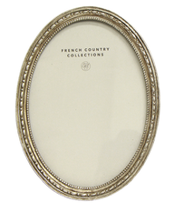 French Country Antique Oval Frame - Silver 4x6""