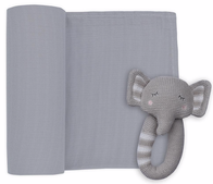 Living Textiles Elephant Muslin Swaddle & Rattle Grey
