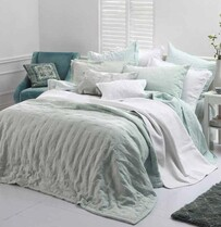 MM Linen Laundered Linen Bedspread Set - Duckegg
