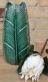 Banyan Banana Palm Leaf Vase 31cmH - Green