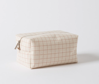 Citta Grid Wash Bag Toffee/Natural Large