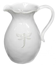 French Country Dragonfly Pitcher White Large