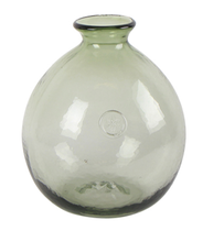 French Country Bottle Vase Round 20.5cmDiax24cmH - Green