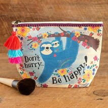 Natural Life Sloth Don't Hurry Be Happy Canvas Pouch
