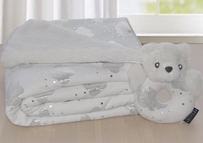 Living Textiles Clouds Sherpa Blanket & Rattle Set