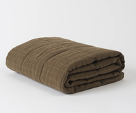 Citta Washed Grid Linen Quilted Blanket Seaweed/Olive L 200x200cm