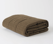 Citta Washed Grid Linen Quilted Blanket - Seaweed/Olive Large 200x200cm