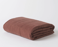 Citta Washed Linen Quilted Blanket - Raisin Large 200x200cm