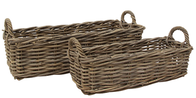 French Country Grove Rectangle Basket with Handles Large 65x28x18cmH