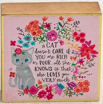 Natural Life A Cat Doesn't Care Tiny Block Keepsake