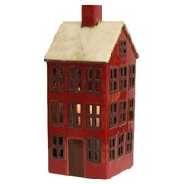 French Country Tea Light House Large - Red And White