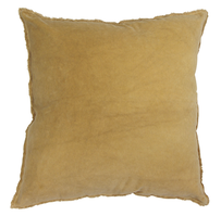 French Country Velvet Cuhion Frayed Mustard Yellow - 50x50cm