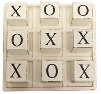 French Country Block Checker Board 25cmx25cm - White