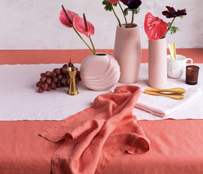 Baksana Linen Tablecloth - Salmon 160x300cm