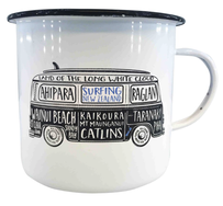 Moana Road NZ Surfing Enamel Mug - White Small