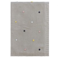 Linens & More Pom Pom Cotton/Jersey Baby Blanket Grey Marle