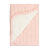 Linens & More Sherpa Cotton Baby Blanket Pink 75x100