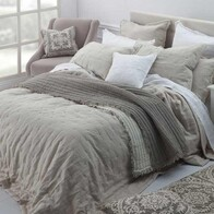 MM Linen Laundered Linen Quilted Euro Natural Set