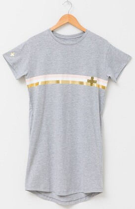 Stella & Gemma T-Shirt Dress Malia with Stripe - Grey