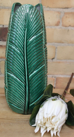 Banyan Banana Palm Leaf Vase 37cmH - Green