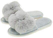 Annabel Trends Cosy Luxe Pom Pom Slippers - Grey