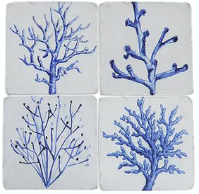 Oneworld Blue Coral Coasters Set 4