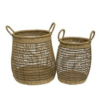French County Natural Black Open Weave Round Basket with Handles