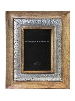 Stoneleigh & Roberson Stiges Wood Carved with Metal Inlay Frame - 4x6""