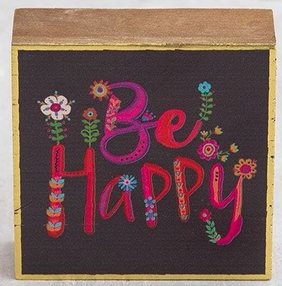 Natural Life Be Happy Tiny Block Keepsake