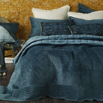 MM Linen Remy Bedpread Set - Indigo King