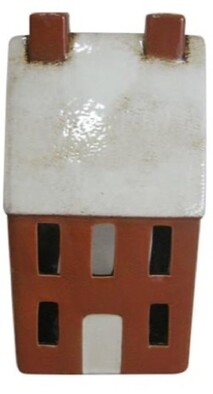 French Country Amber Tea Light House 25cmH