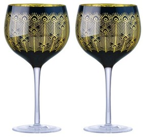 Artland Peacock Gin Glasses - Midnight Set of 2